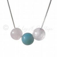 FREE POST UK Silver Rose Quartz Amazonite Necklace Gift Wrapped Jewellery BCN4