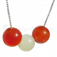 FREE POST UK Silver, Orange Carnelian, Jade Necklace Gift Wrapped Jewellery BCN6