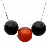 FREE POST UK Silver Black Agate, Carnelian Necklace Gift Wrapped Jewellery BCN8
