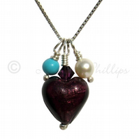 FREEPOST UK Silver, Purple Murano Heart, Turquoise Pearl Necklace - Gift  MGP1PT