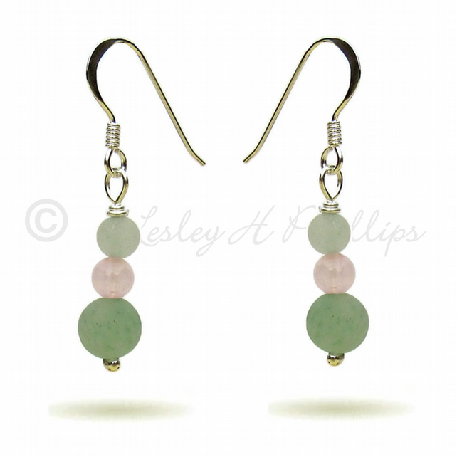 Silver, Green Aventurine Rose Quartz Earrings Gift Wrapped FREE DELIVERY UK GSE6