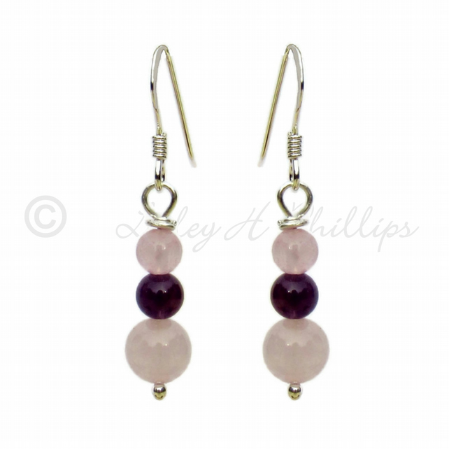 Silver, Rose Quartz, Purple Amethyst Earrings Gift Wrapped FREE DELIVERY UK GSE4