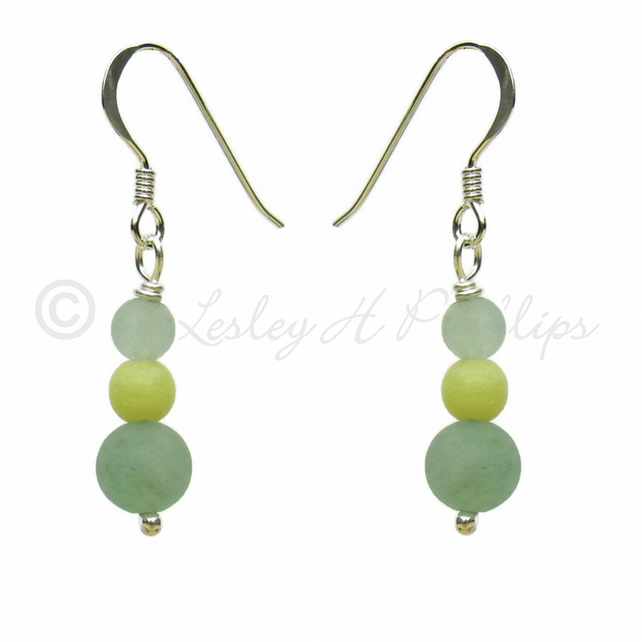 Silver Aventurine ,Yellow Jade Gem Earrings Gift Wrapped FREE DELIVERY UK GSE8