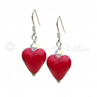 UK FREE DELIVERY Silver Murano Glass Red Heart Earrings Gift Wrapped Ideas  MGE4