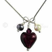 FREEPOST UK Silver, Purple Murano Heart, Tahitian Pearl Necklace - Gift  MGP1PtP