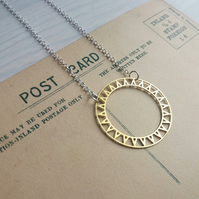 Golden Circle Sun necklace - with geometric cut outs - silver plated chain