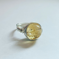 Wire wrapped citrine ring