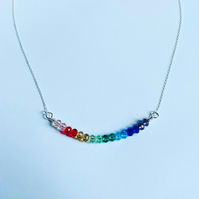 Rainbow faceted crystal necklace