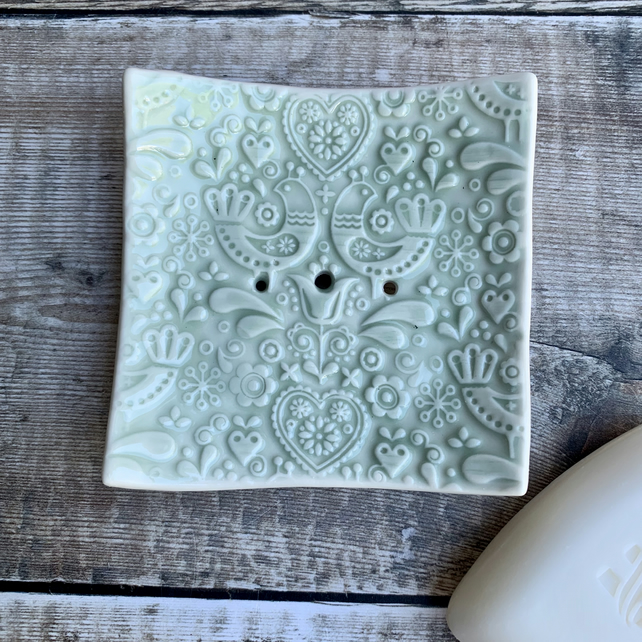 Beautiful handmade porcelain soap dish with free soap