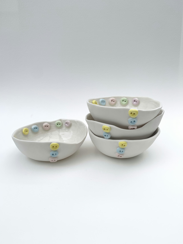 Handmade porcelain trinket button dish