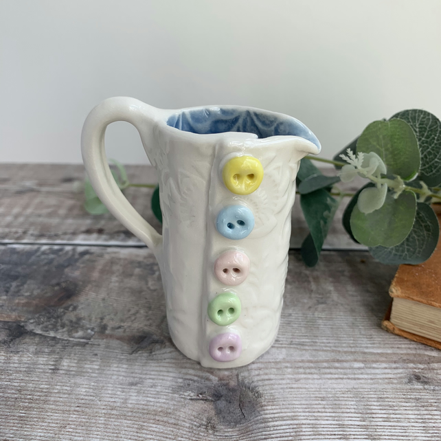 Handmade porcelain button jug mini