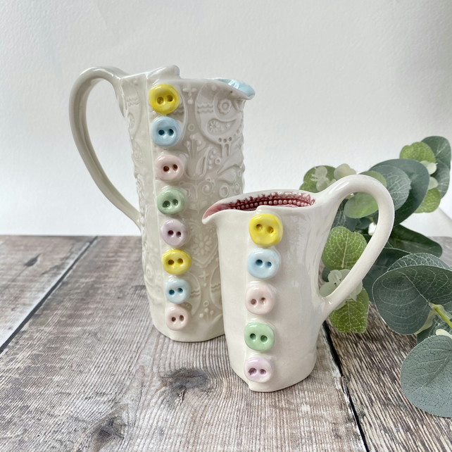 Handmade porcelain button jug small.