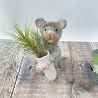 Handmade pottery Cat with real air plan