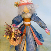 Corn Husk Flower Collecting Doll