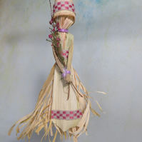 Violet Ribboned Corn Husk Doll with Wild Heather