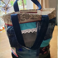 Patchwork velvet tote bag