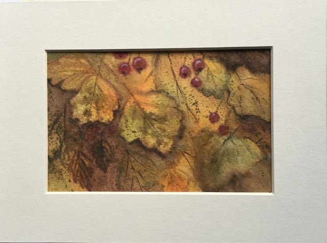 Autumn Hawthorn painting