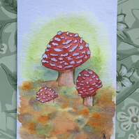 Hand painted card toadstools