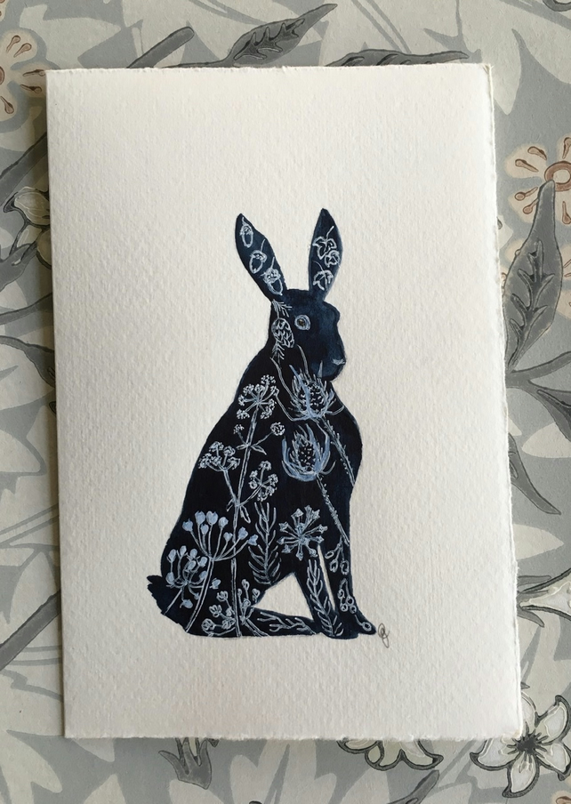 Greetings card Hare silhouette
