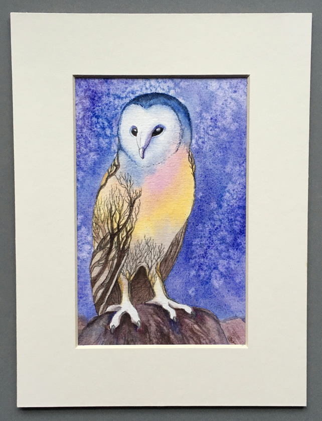 Sunset barn owl original art