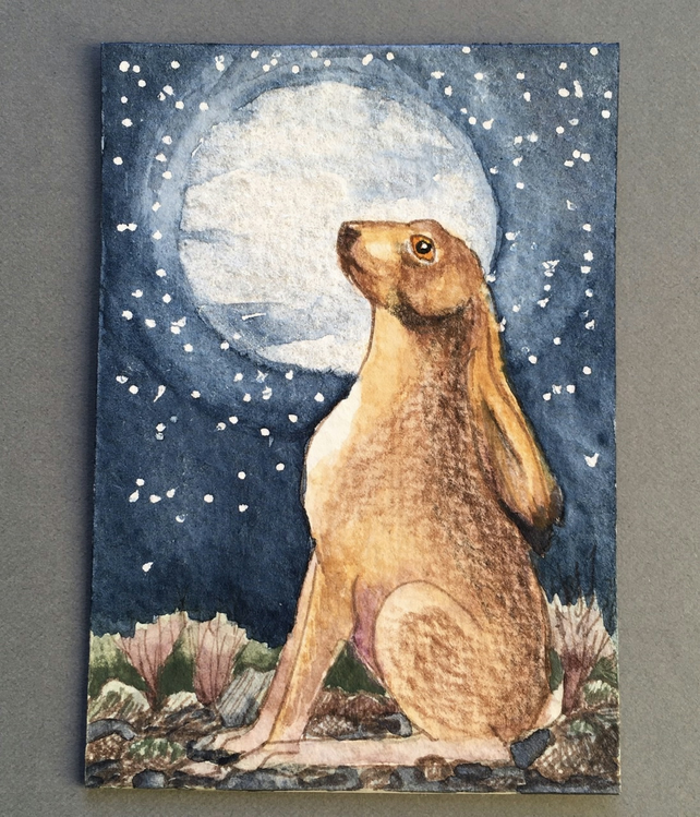 Aceo hand painted original hare