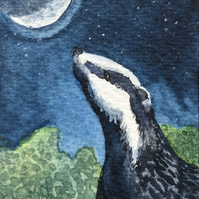 ACEO Badger Moon hand painted art