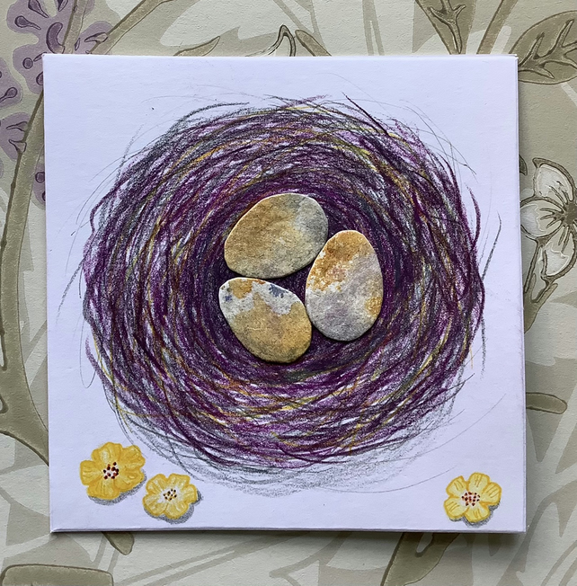 Yellow collage eggs in nest greetings card
