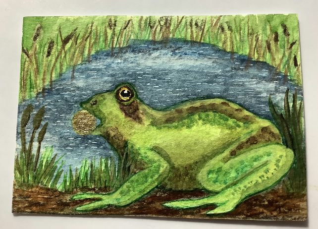 """Frog Prince"" ACEO hand painted"