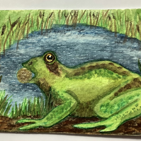 """""""Frog Prince"""" ACEO hand painted"""