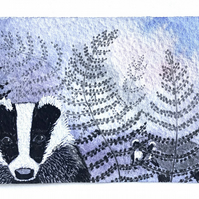 Badgers amongst ferns aceo original painting