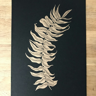 Limited edition gold Fern lino print.