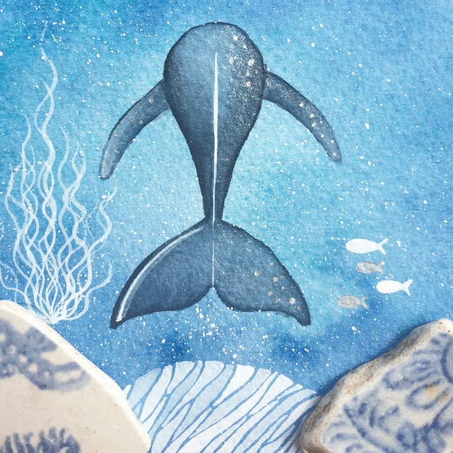 Blue Whale Underwater Sea Painting - Original Framed Watercolour & Beach Pottery