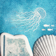 Jellyfish Underwater Sea Painting - Original Framed Watercolour & Beach Pottery