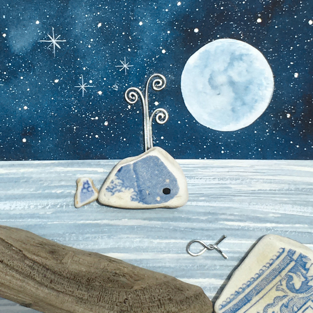Whale by Moonlight - Watercolour & Pebble Art Picture. Beach Craft. Sea Pottery