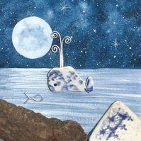 Whale by Moonlight - Watercolour & Pebble Art Picture. Beach Driftwood & Pottery