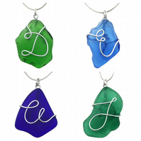 Personalised Initial Scottish Sea Glass Pendant Necklace - Seaglass Jewellery