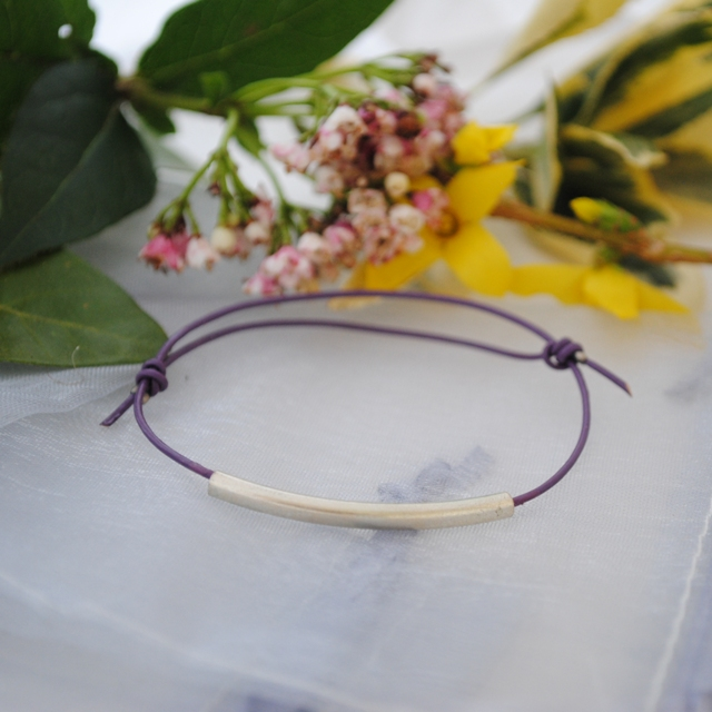 Friendship Bracelet-Purple Leather & silver tube