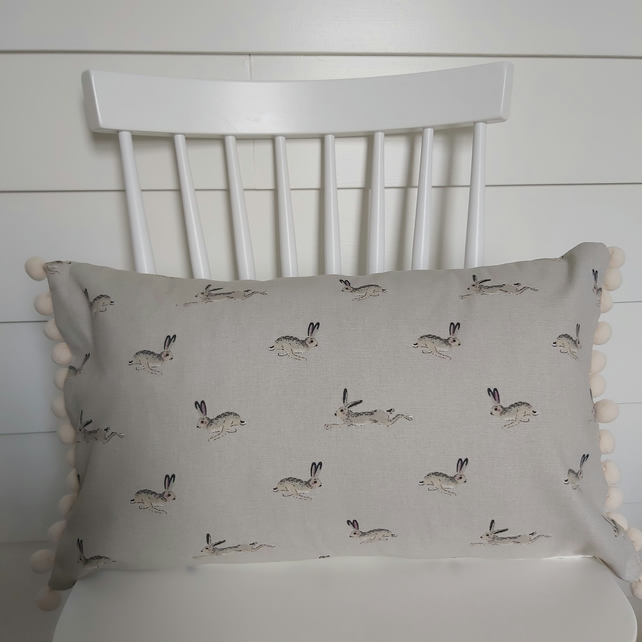 Sophie Allport Hares  Cushion with Cream Pom poms