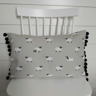 Sophie Allport Sheep   Cushion with Black Pom poms