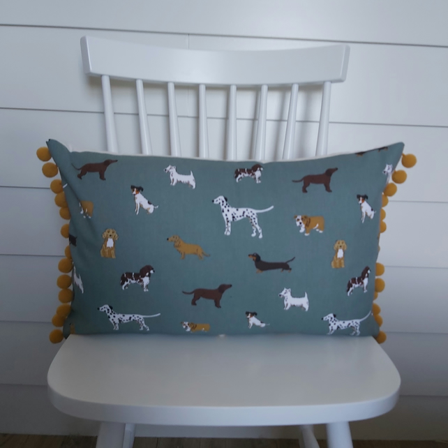 Sophie Allport Fetch Cushion  with Mustard  Pom poms