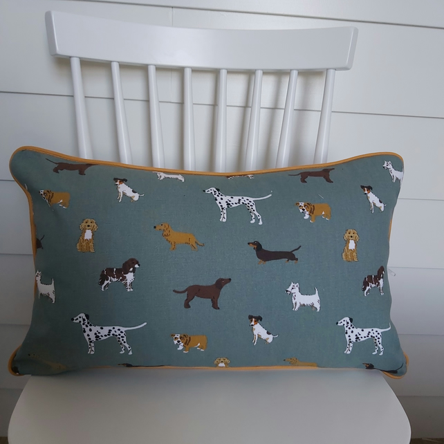 Sophie Allport Fetch Cushion  with Mustard  Piping
