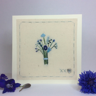 Little flower bouquet in blue hand embroidered card