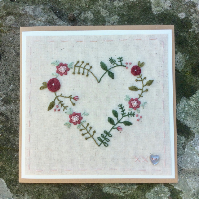 Floral Heart in pink hand embroidered card