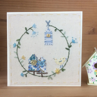 Little blue bird house hand embroidered card