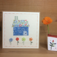 Little Hand Embroidered House card