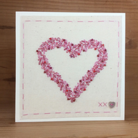 Beaded Heart hand embroidered card