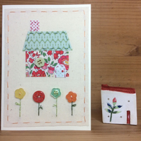 Little Stitched Cottage Hand embroidered card