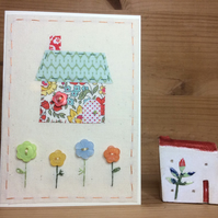 Little Bright Stitched Cottage hand embroidered card