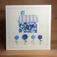 Little Blue Hand Embroidered Cottage Card