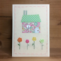 Little Pastel Hand Embroidered Cottage Card